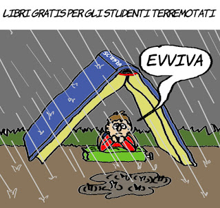 terremoto, terremotati, studenti, vignetta, satira