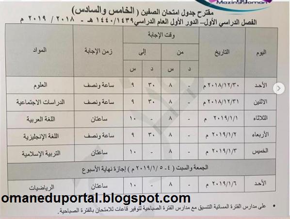 مقترح جدول امتحان الفصل الاول من الصف الخامس الي الحادي عشر سلطنة عمنا 2018-2019