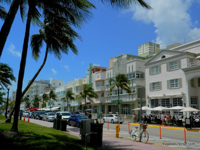 Arquitetura art déco de South Beach, na Ocean Drive, Miami Beach