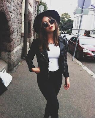 outfit oscuro de invierno con jacket negra y sombrero negro tumblr