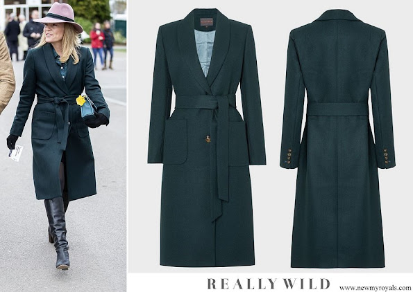 Autumn Phillips wore Really Wild shawl collar coat vine green