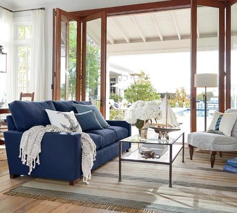 Nautical Living Room Navy Blue Sofa