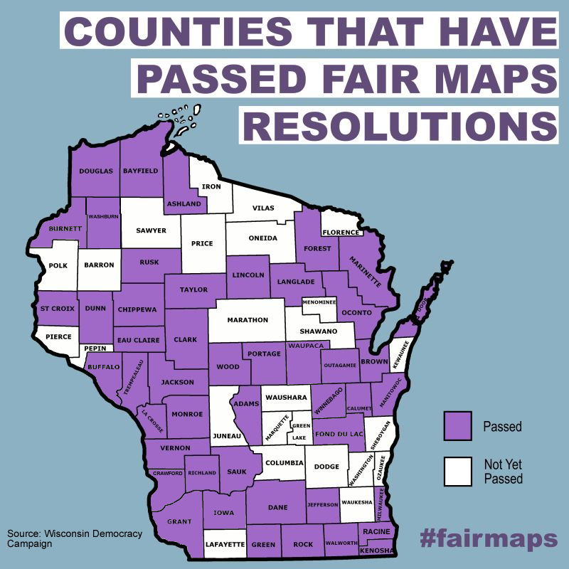 Common Cause Wisconsin Counties In 32 Of 33 Wi State Senate Districts 91 Of 99 Assembly Districts Back Ending Partisan Gerrymandering