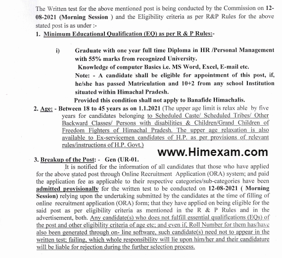 Important Notice For The Post Of Junior Officer P&A (Post Code-913):- HPSSC Hamirpur