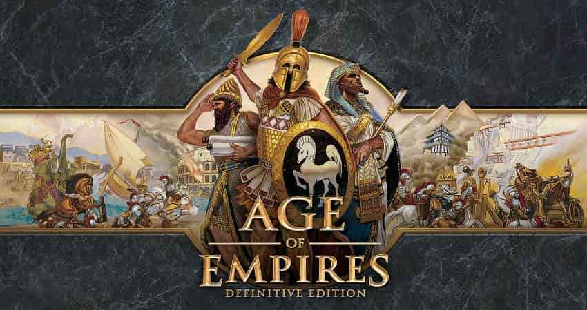 A warrior in Age of Empires 3 game with sword and golden shields containing a picture of a white horse
