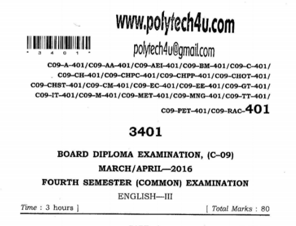 SBTET AP C09 COMMON ENGLISH 3  PREVIOUS QUESTION PAPER