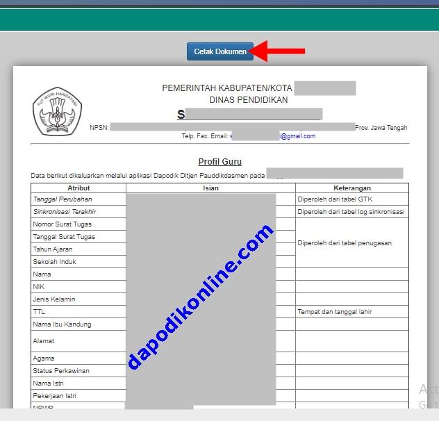 Cetak Dokumen Profil Guru