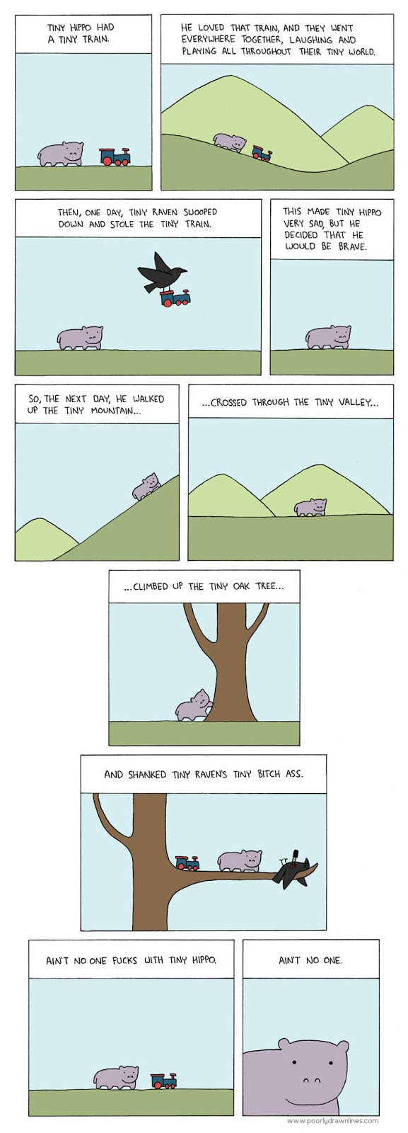 Funny comic depicting an evil small Hippo