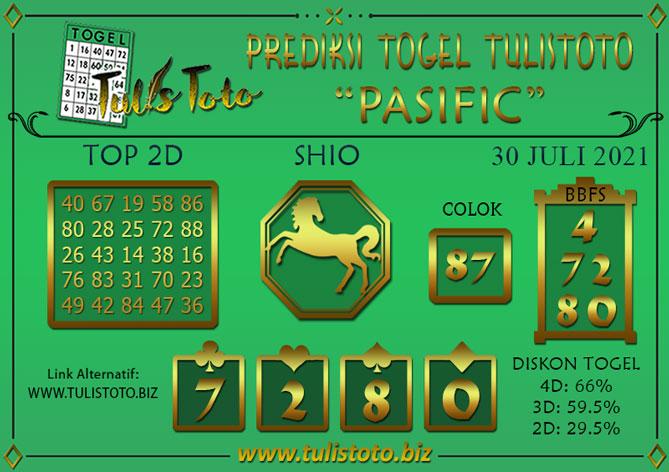 Prediksi Togel PASIFIC TULISTOTO 30 JULI 2021