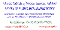 Assistant Nursing Superintendent Recruitment at AIIMS, Rishikesh
