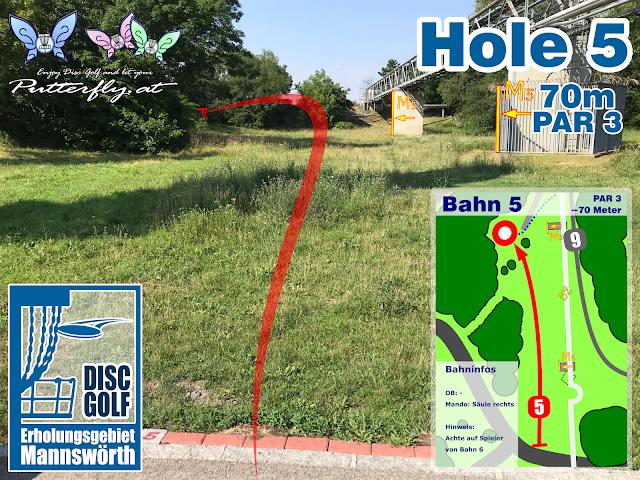 Hole 5 Disc Golf Parcours Erholungsgebiet Mannswörth - Schwechat