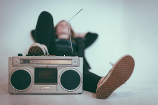 Listening to music on radio lying down
