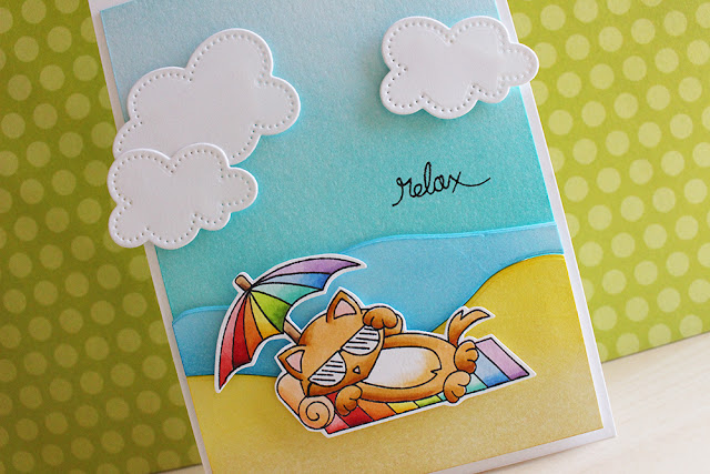 Relax Beach Kitty Card by March Guest Designer Eloise Blue | Newton's Summer Vacation stamp set by Newton's Nook Designs #newtonsnook
