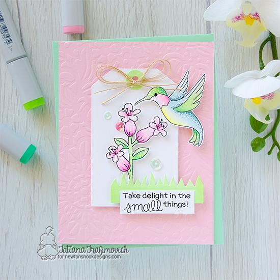 Hummingbird Card by Tatiana Trafimovich   Hummingbird Stamp Set, Fancy Edges Tag Die Set, Land Borders Die Set and Floral Lace Stencil by Newton's Nook Designs #newtonsnook #handmade