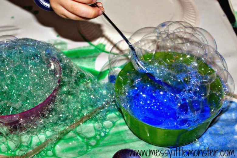 bubble painting process art for kids