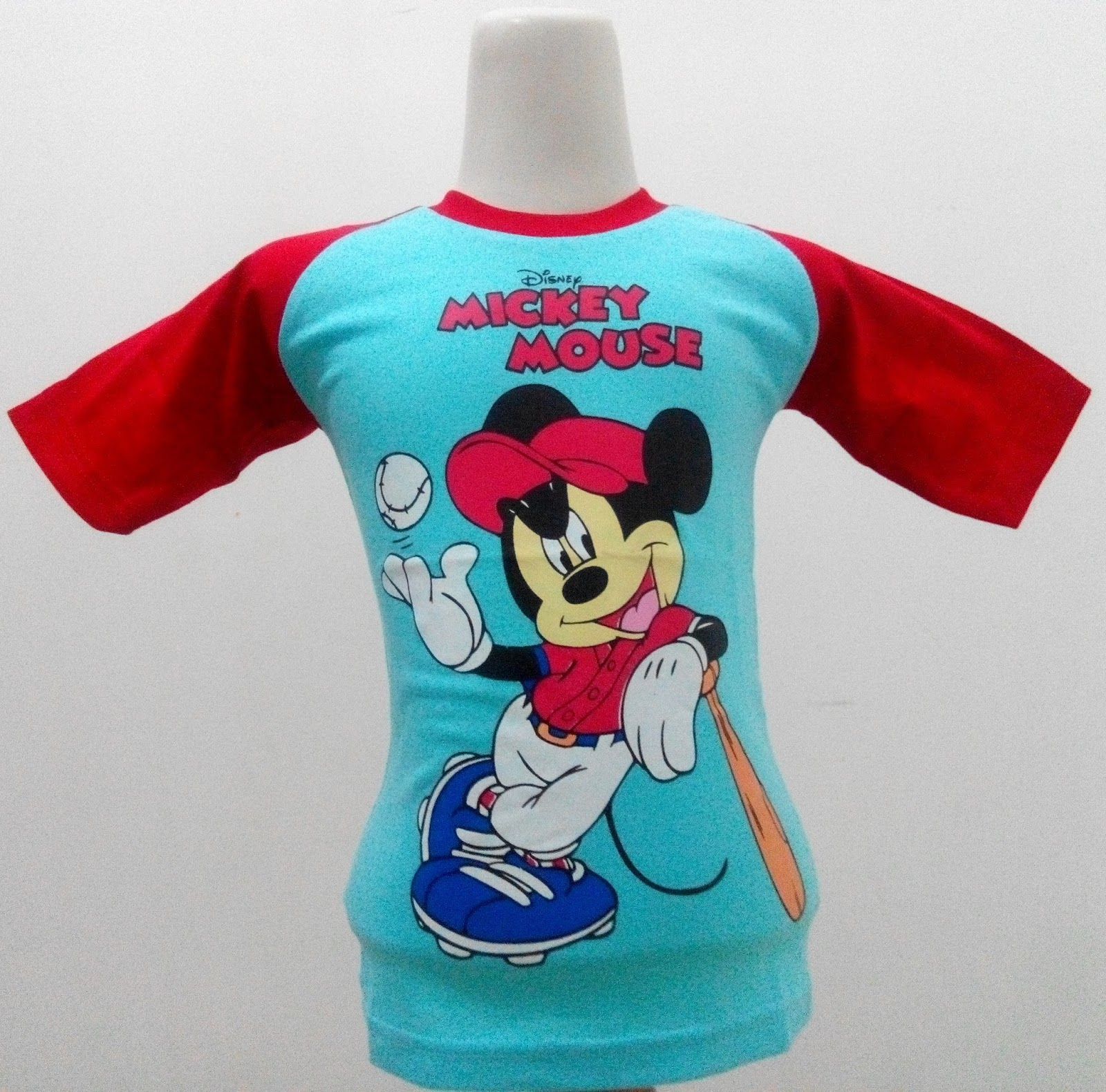 Mickey Mouse 2 Kaos Raglan Anak Karakter Biru Kak Baju Mikimouse