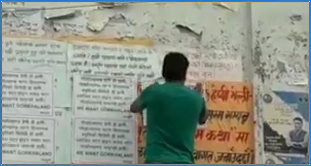 Postering for Gorkhaland in Darjeeling Kalimpong