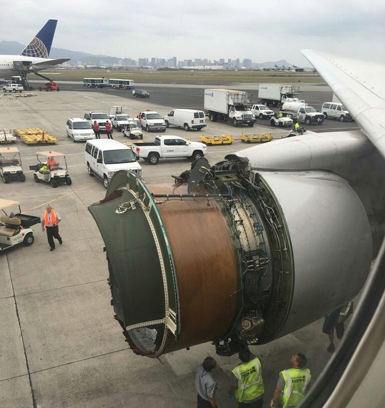 United Airlines passengers rattled after plane's engine shell falls off