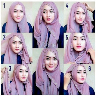Cara memakai jilbab pashmina simple untuk pesta