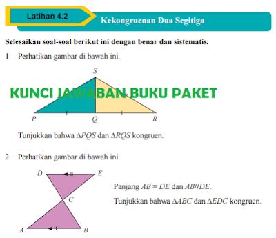 Kunci Jawaban Buku Paket Matematika Kelas 9 Uji Kompetensi 4.2 Kekongruenan Dua Segitiga Halaman 226 227 228 Kurikulum 2013