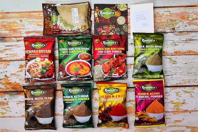 rempah masakan keluaran bumiputra, produk muslim, rempah halalan toyyiba, rempah rahman, rahman's spice,
