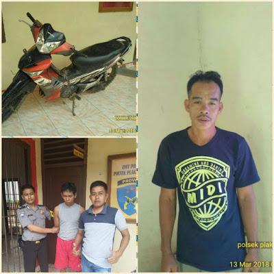Gelapkan Motor, Mustofa dan Yanto Di Gelandang Polsek Plakat Tinggi