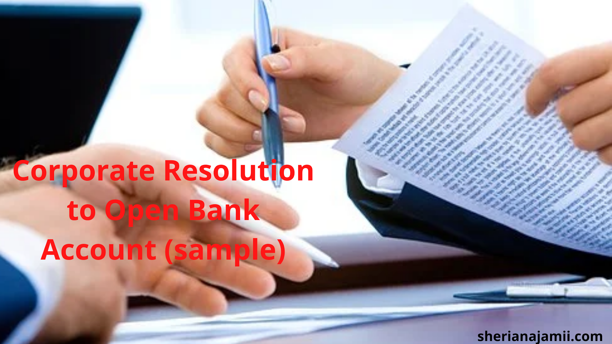 Corporate Resolution to Open Bank Account (sample)