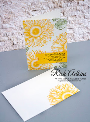 Celebrate Sunflowers Stamp Set, Whisper White note cards & Envelopes, Daffodil Delight classic Ink, Old Olive Classic Ink, Stampin' Up!, Rick Adkins