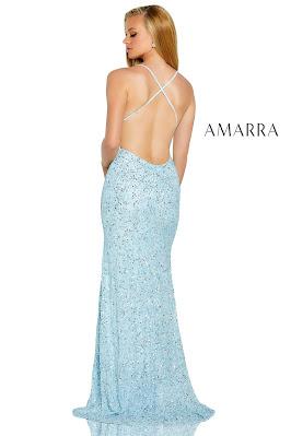 Amarra v-neckline fitted beaded prom sky blue dress back side