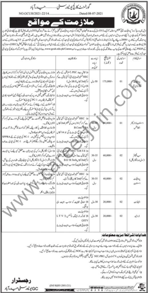 www.gcuh.edu.pk Jobs 2021 - Government College University Jobs 2021 in Pakistan