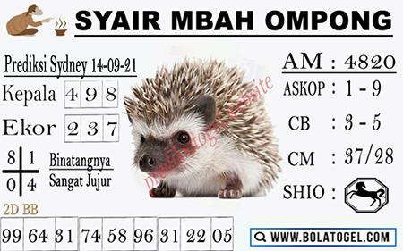 Syair Mbah Ompong SDY Selasa 14-Sep-2021