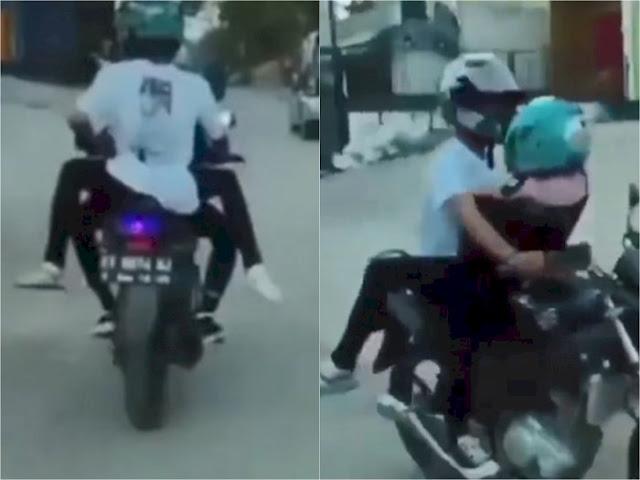 Viral Sejoli Boncengan di Atas Motor Saling Nempel seperti Sedang 'Wik-wik'