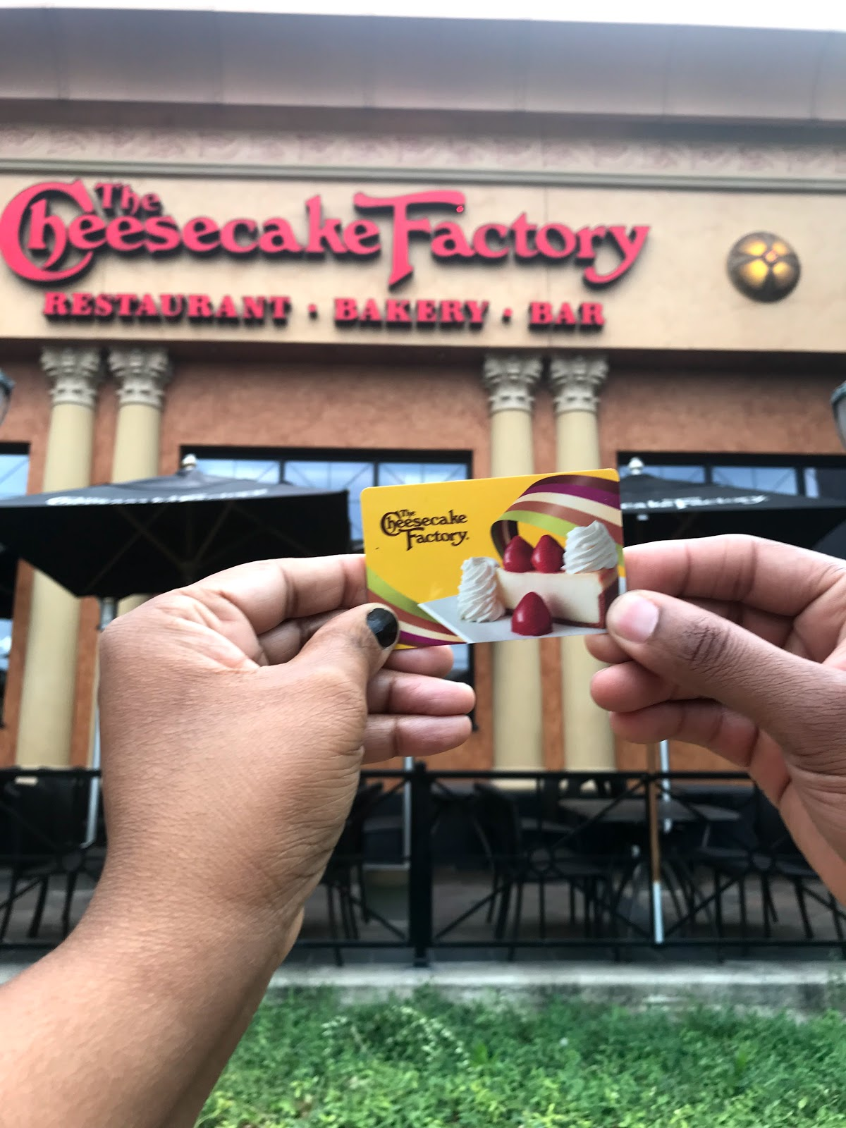 A few weeks ago we sent my mother-in-law a gift card for her birthday. Not knowing there was no Cheesecake Factory in her hometown city Shreveport. So, guess what that means? Yes, we did a switch out cash for the card.