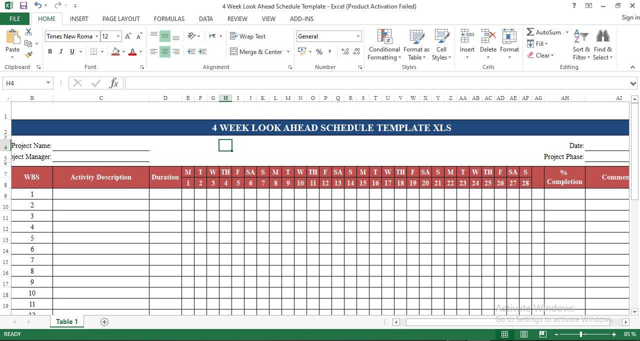 4 week look ahead schedule template excel