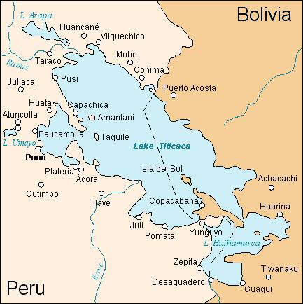 Lago Titicaca e fronteira Peru/Bolívia