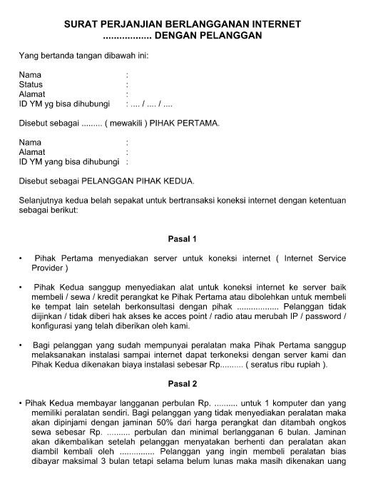 Contoh Surat Perjanjian Berlangganan Internet Telkom, Indosat atau Speedy File Word