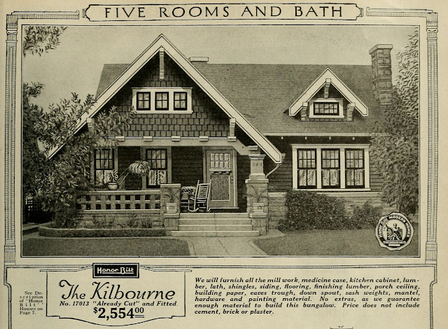 catalog image showing brackets and early porch style, Sears Kilbourne 1923 sears modern homes catalog