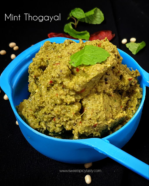 Pudina Thogayal is a south indian style chutney and makes use mint and roasted lentils. ,Pudina Thuvayal,Chutney Varieties,Mint Thuvayal,Mint thogayal