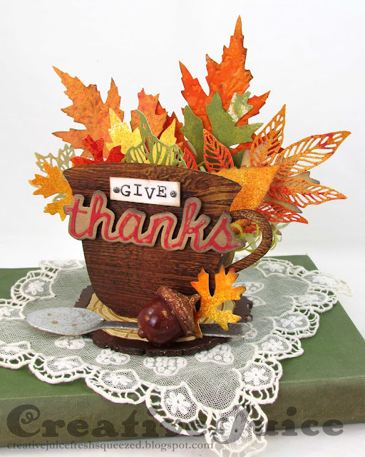 Lisa Hoel for Eileen Hull – Autumn splendor using Eileen's newest Sizzix Die, the #-D Teacup! #eileenhull #mymakingstory #ehinspirationteam #tim_holtz