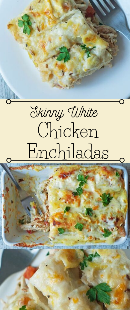 Skinny White Chicken Enchiladas #chicken #dinner #healthylunch #food #easy