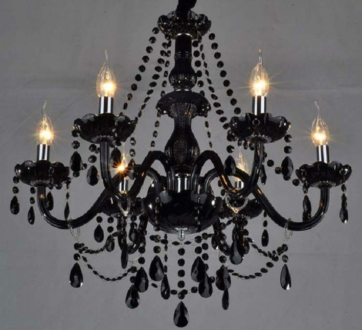 black crystal plug in chandelier