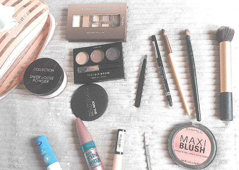 My reduced makeup collection in a post about five areas to start decluttering for a more simple life.