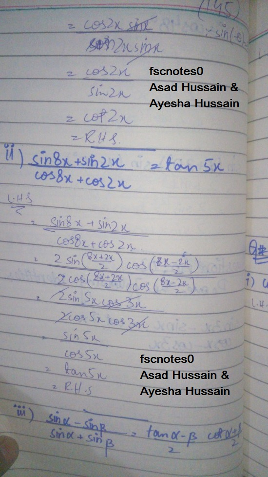 FSc ICS FA Notes Math Part 1 Chapter 10 Trigonometric Identities Exercise 10.4 Question 3 - 4 written by: Asad Hussian & Ayesha Hussain 1
