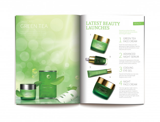 Vector template for glossy cosmetic magazine. Free Vector