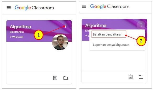 Cara Keluar dari Kelas Google Classroom