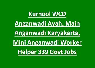 Kurnool WCD Anganwadi Ayah, Main Anganwadi Karyakarta, Mini Anganwadi Worker Helper 339 Govt Jobs Application Form
