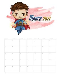 Avengers: Free Printable 2021 Calendar.