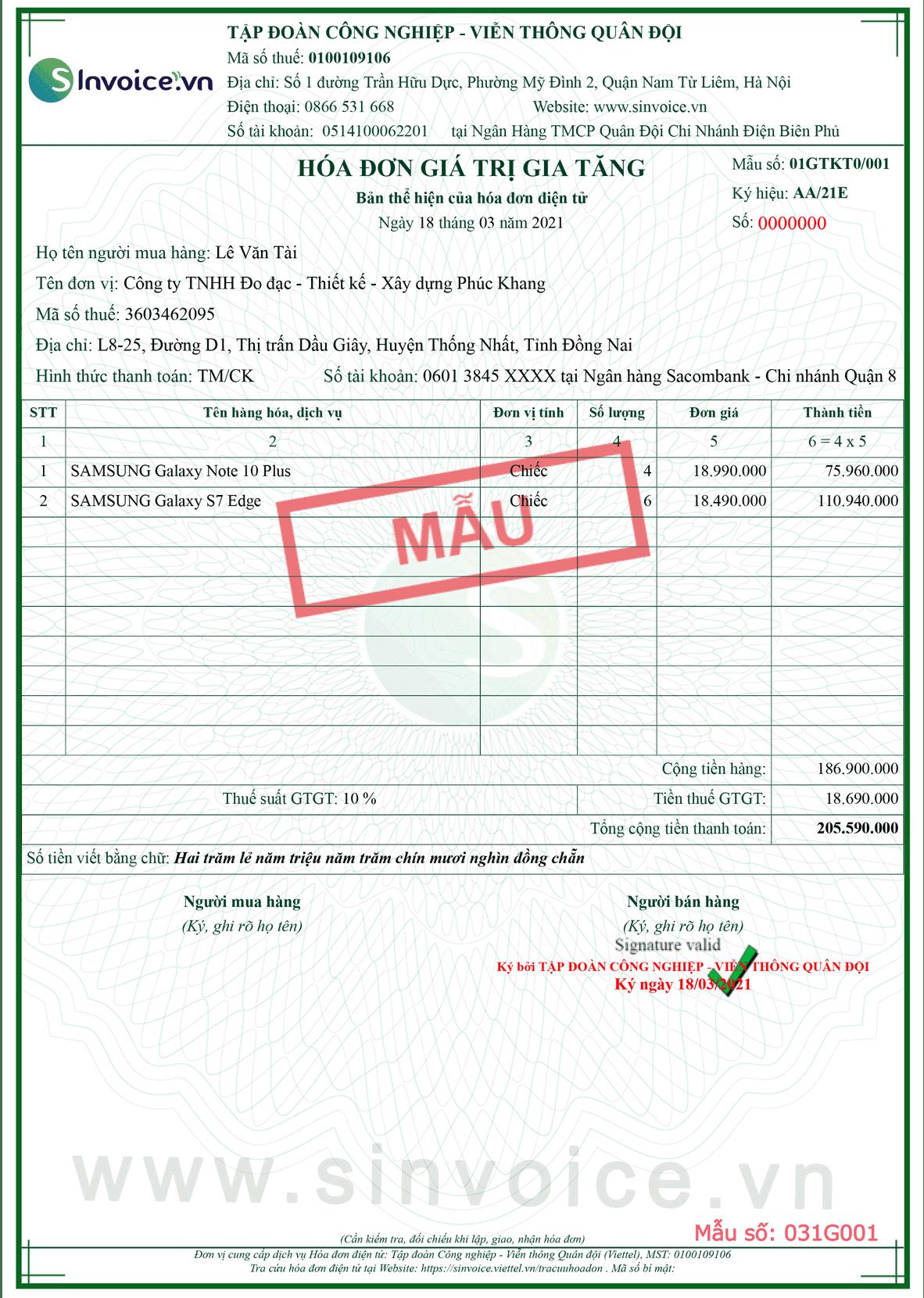 Mẫu hóa đơn điện tử số 031G001