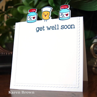 CAS card with off the edge die-cutting using Lawn Fawn's Get Well Soon stamp and die set.