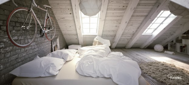 white loft bedroom